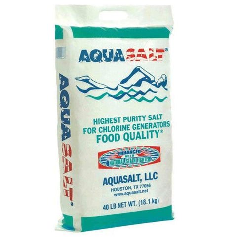 Roll over image to zoom in AQUASALT Swimming Pool and Spa Chlorine Generator Salt - 40 Pounds-(Free PEARSONS SCUMBALL Included) (Regular)