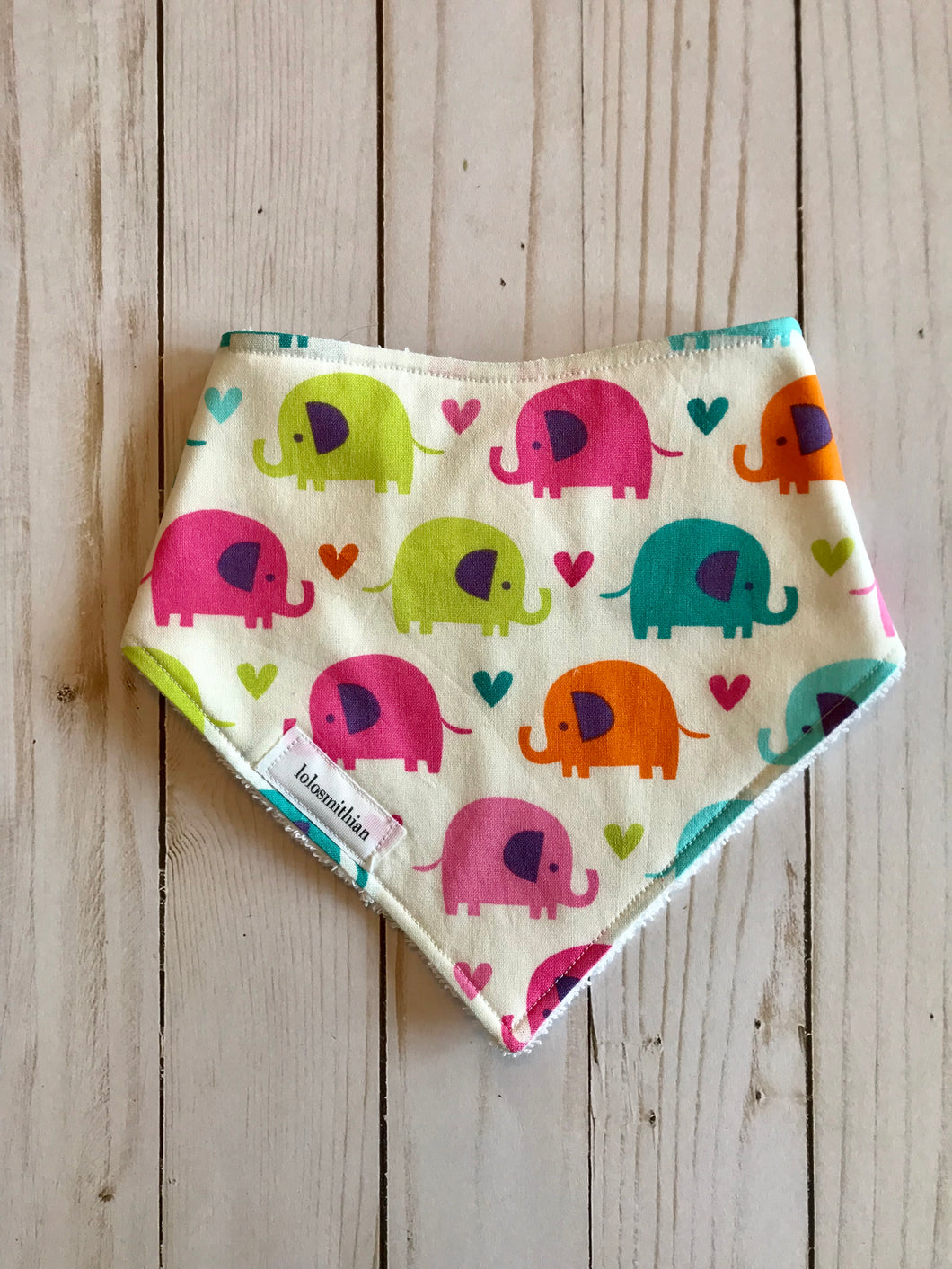 Elephants & Hearts Bandana-Drool Bib