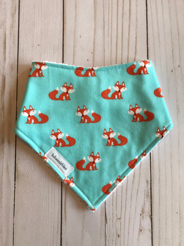 Fox on Teal Bandana-Drool Bib