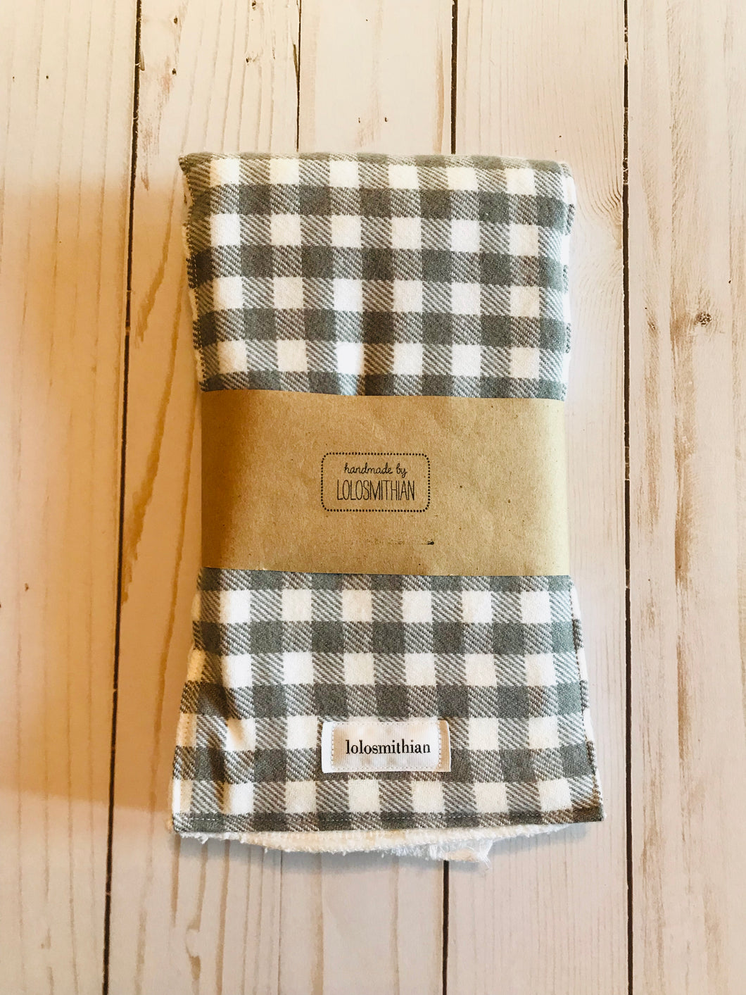 Grey & White Checkered Burp Cloth