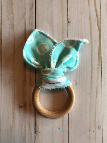 Blue Horseshoes Natural Maple Teether