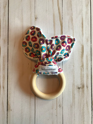 Small Donuts Natural Maple Teether