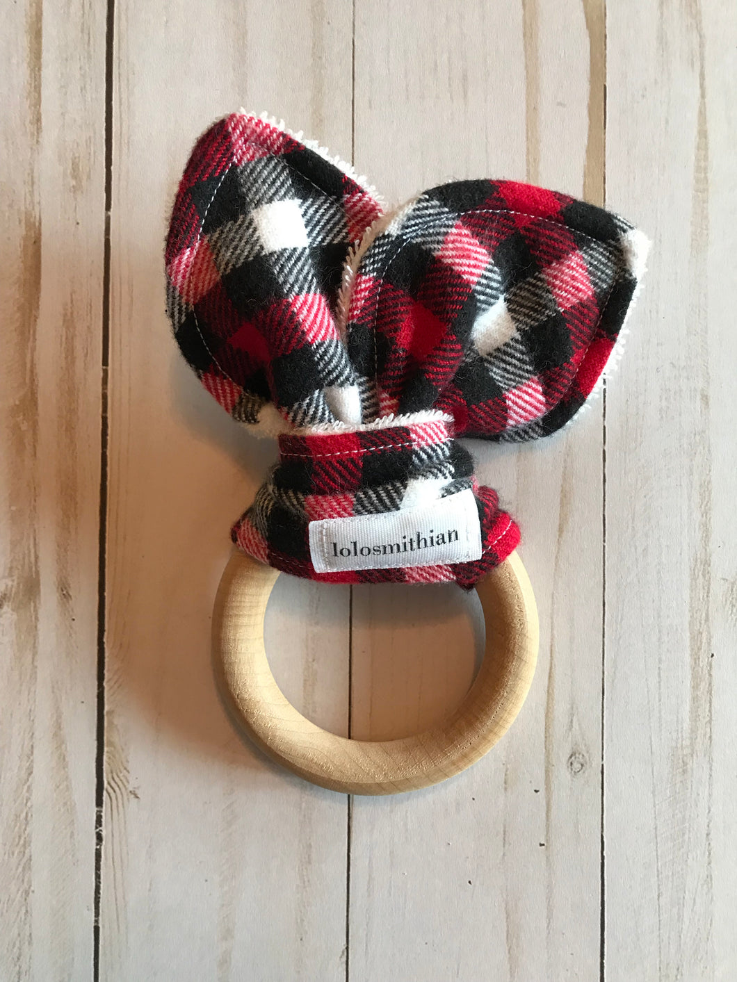 Red, Black & White Plaid Natural Maple Teether