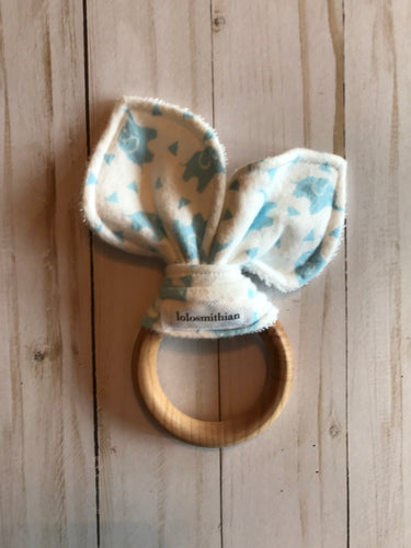 Blue Elephants Natural Maple Teether