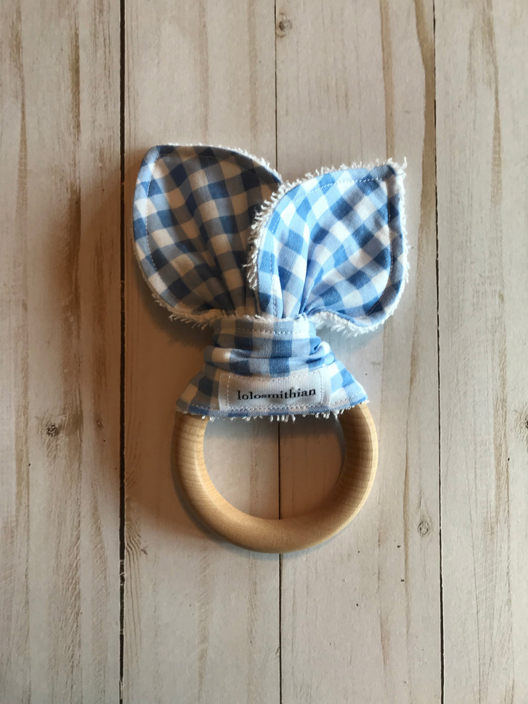 Blue & White Gingham Natural Maple Teether
