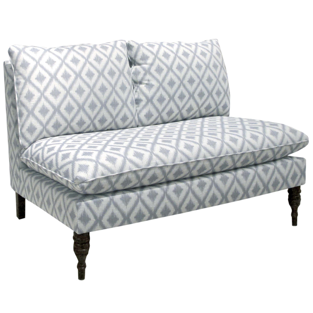 Armless Love Seat (Settee) in Ikat Fret Pewter