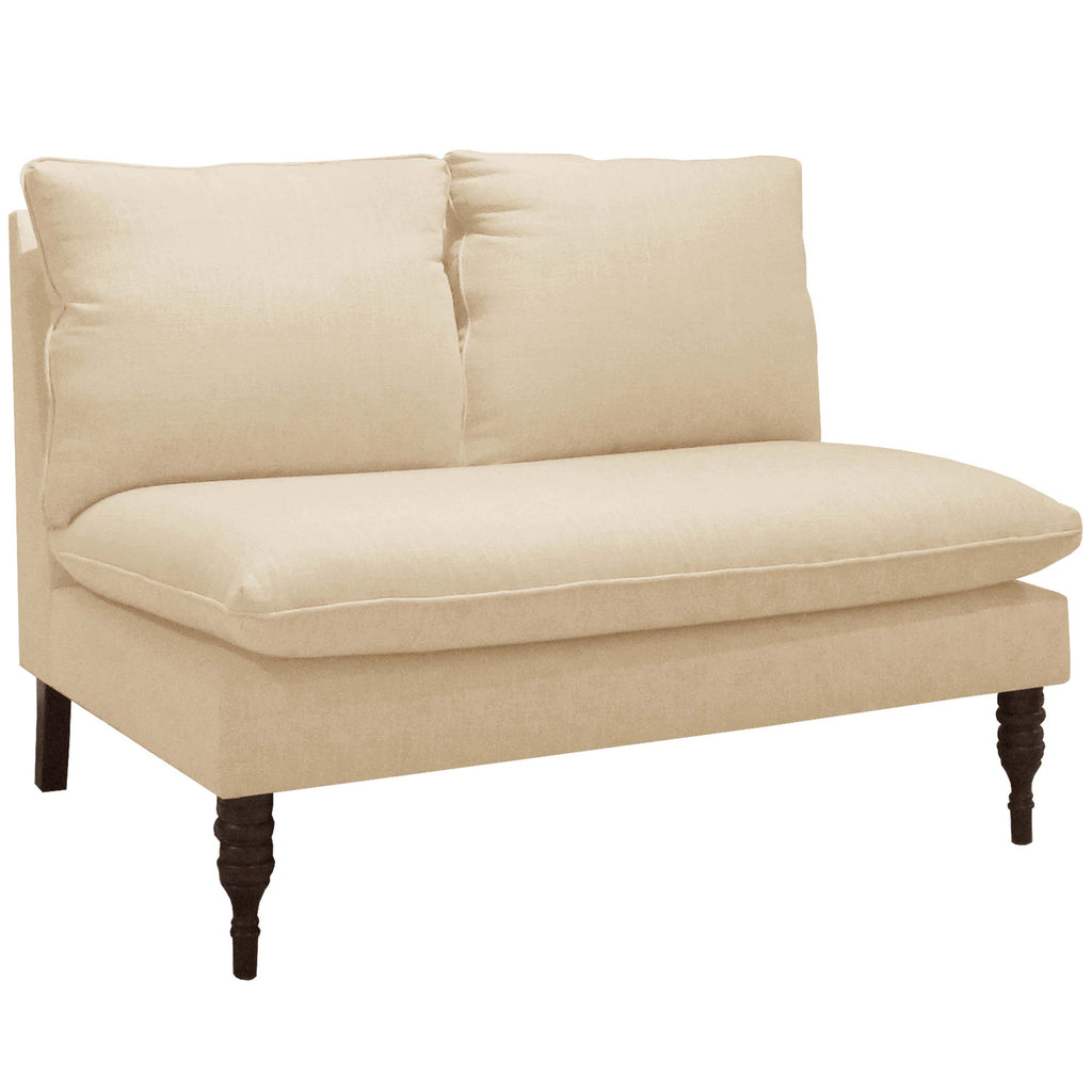 Armless Love Seat in Twill Natural