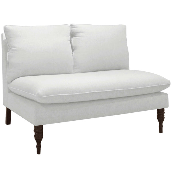 Armless Love Seat in Twill White - angelo:HOME