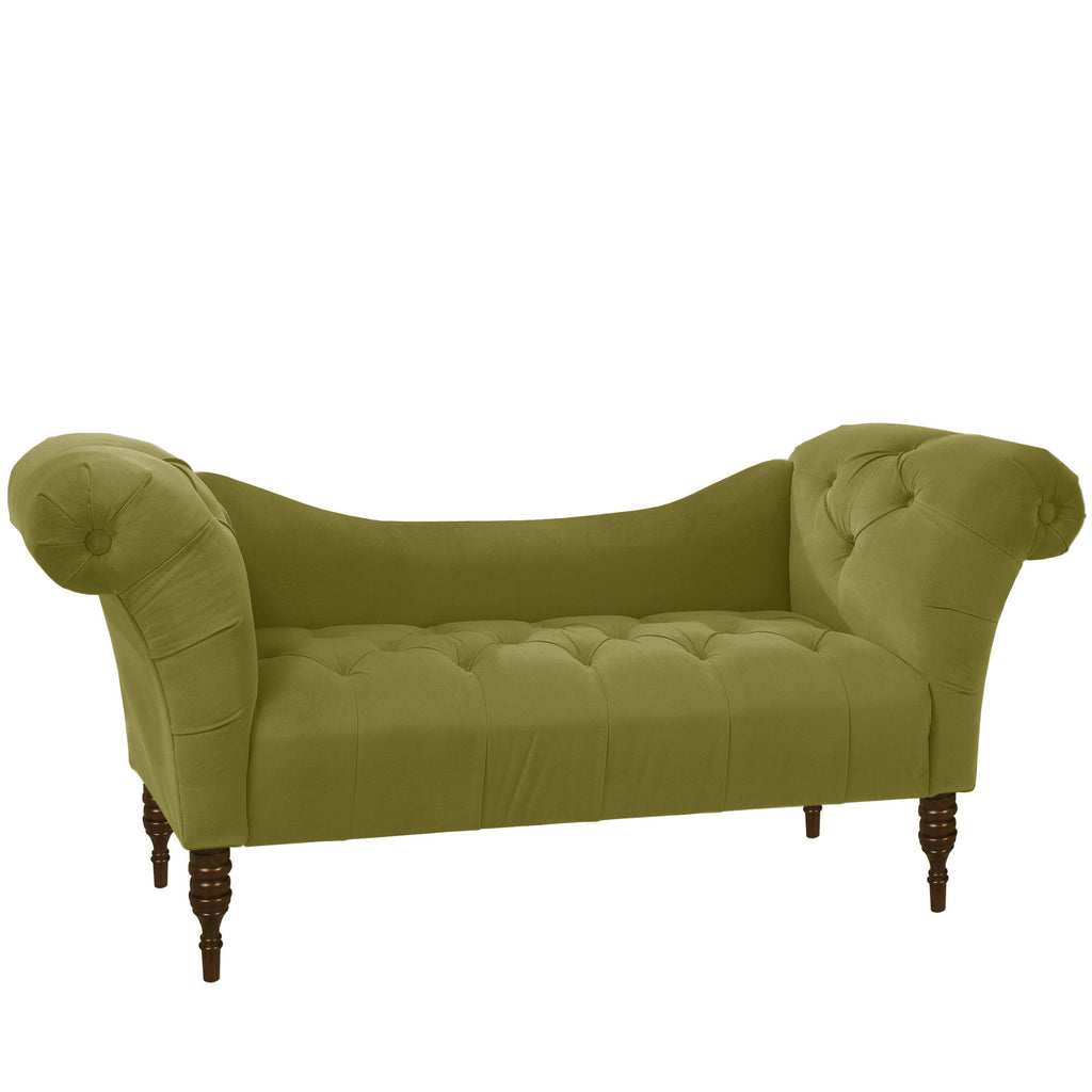 Tufted Chaise Lounge in Velvet Apple Green - angelo:HOME