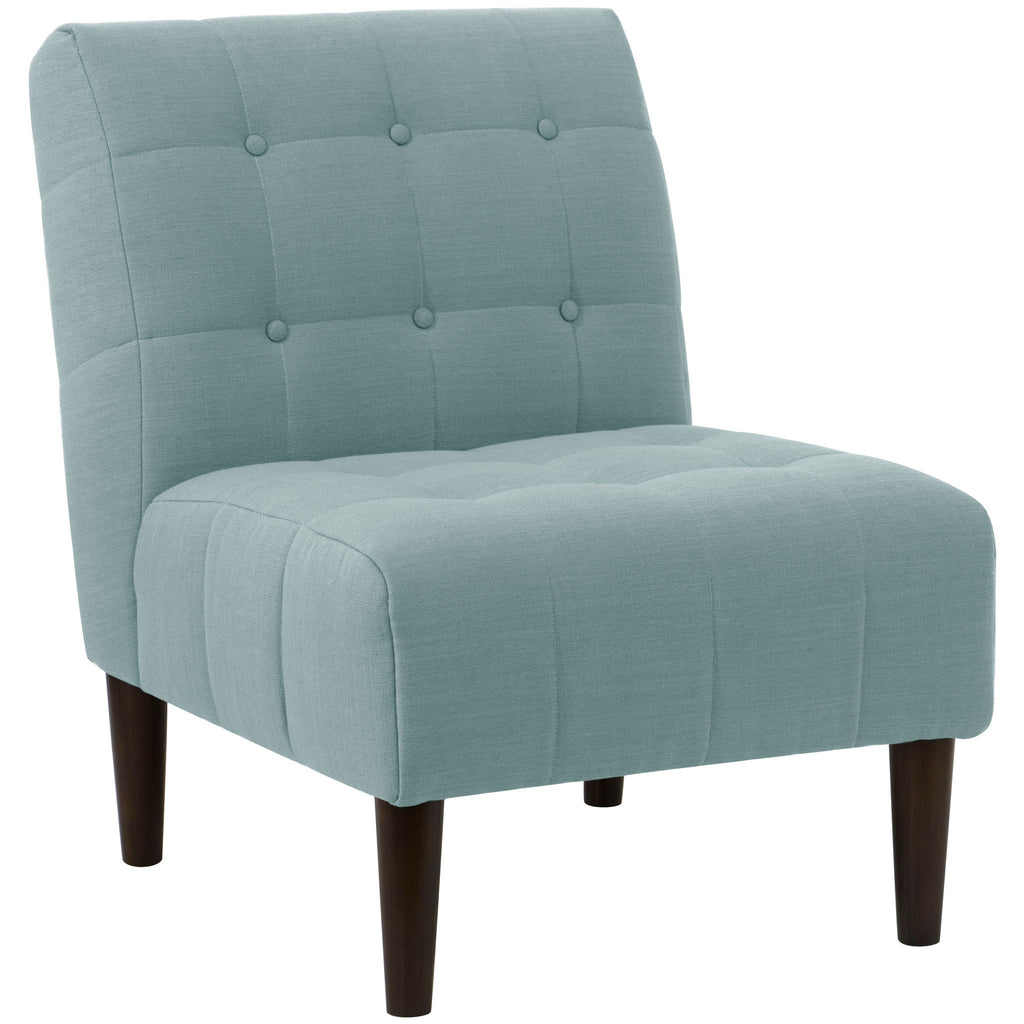 angelo:HOME Button Tufted Accent Chair in Linen Seaglass