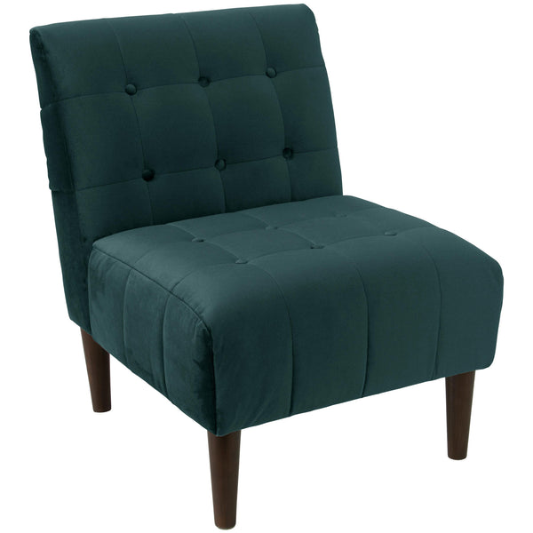 angelo:HOME Button Tufted Accent Chair in Mystere Peacock Velvet
