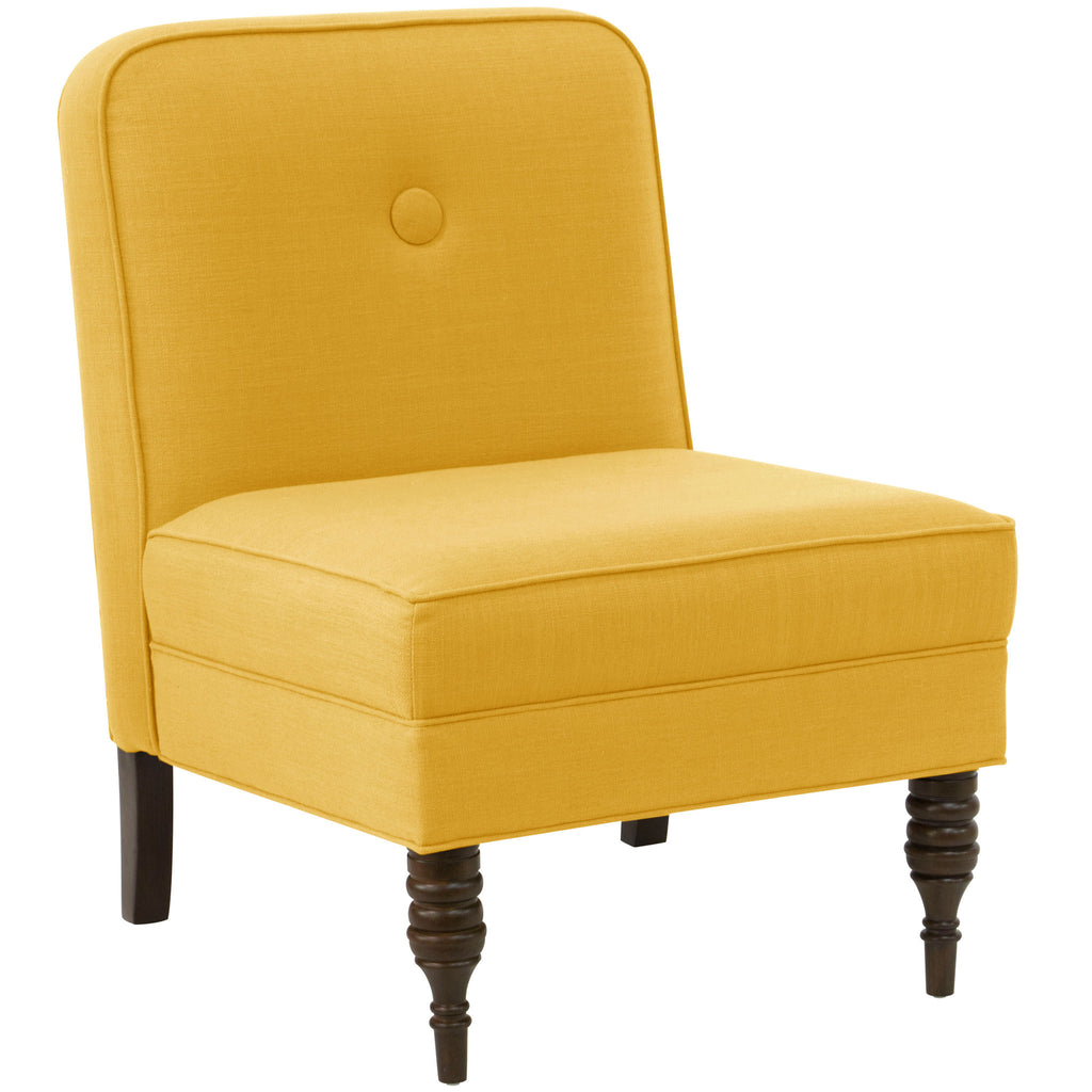 angelo:HOME Accent Chair With Button in Linen French Yellow