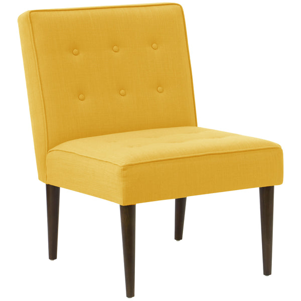 angelo:HOME Button Tufted Modern Chair in Linen French Yellow