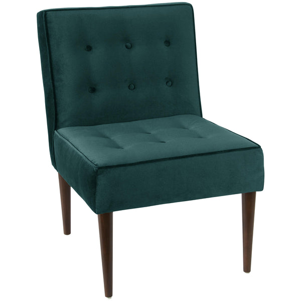angelo:HOME Button Tufted Modern Chair in Mystere Peacock Velvet
