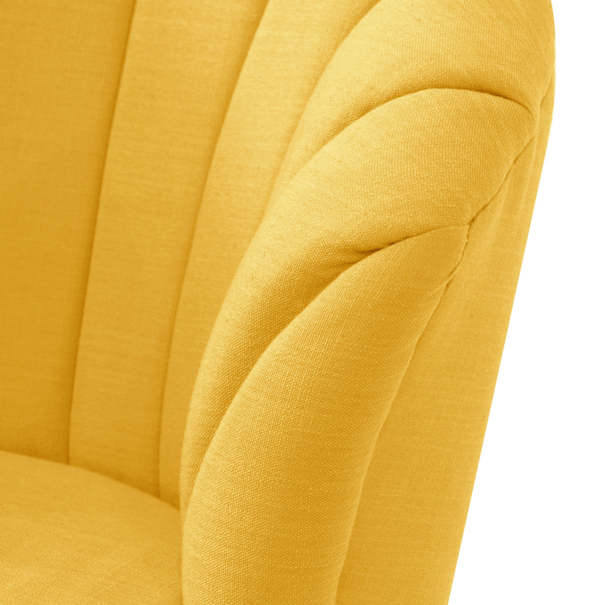 ... Angelo:HOME Channel Seam Barrel Chair In Linen French Yellow    Angelo:HOME