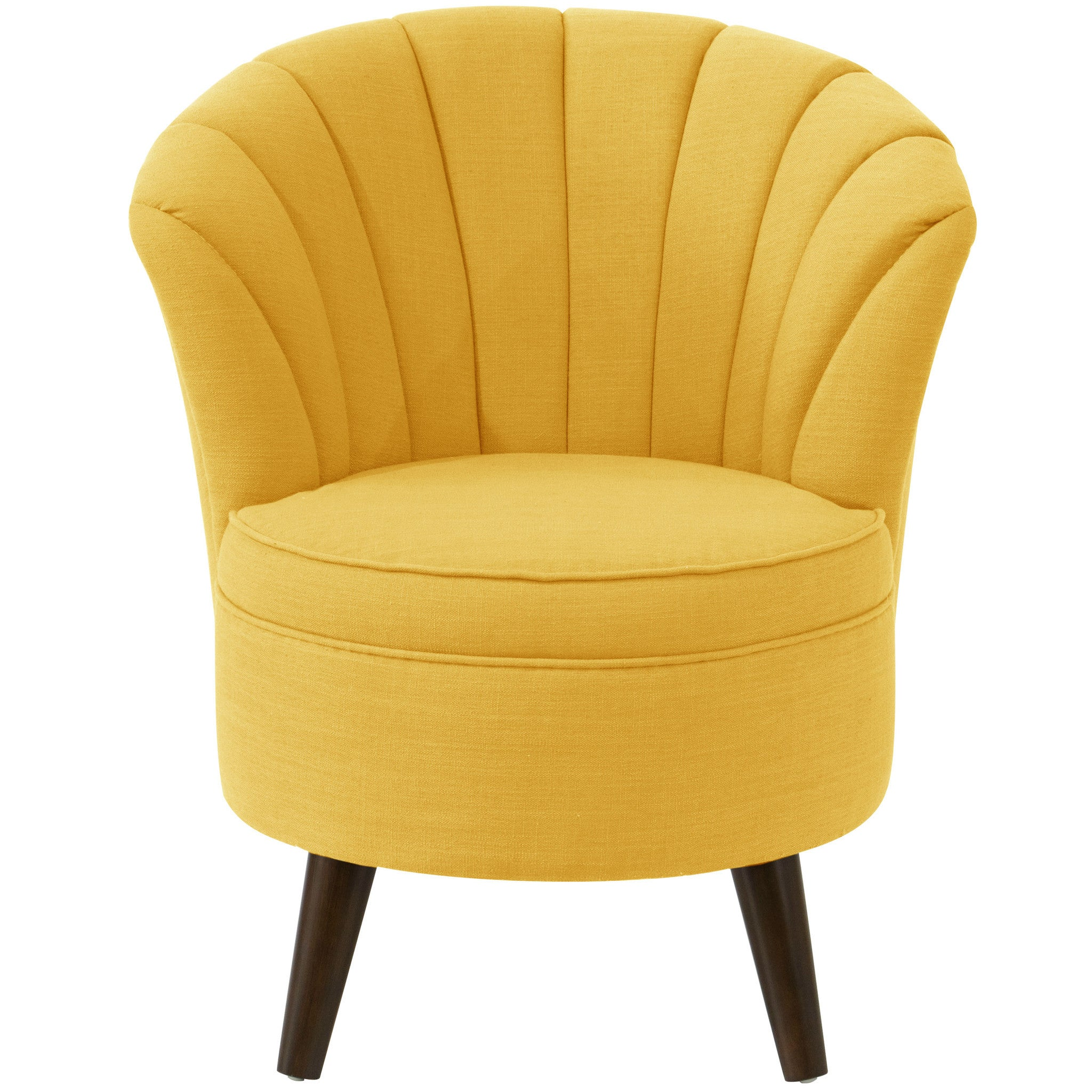 angelo HOME Channel Seam Barrel Chair in Linen French Yellow