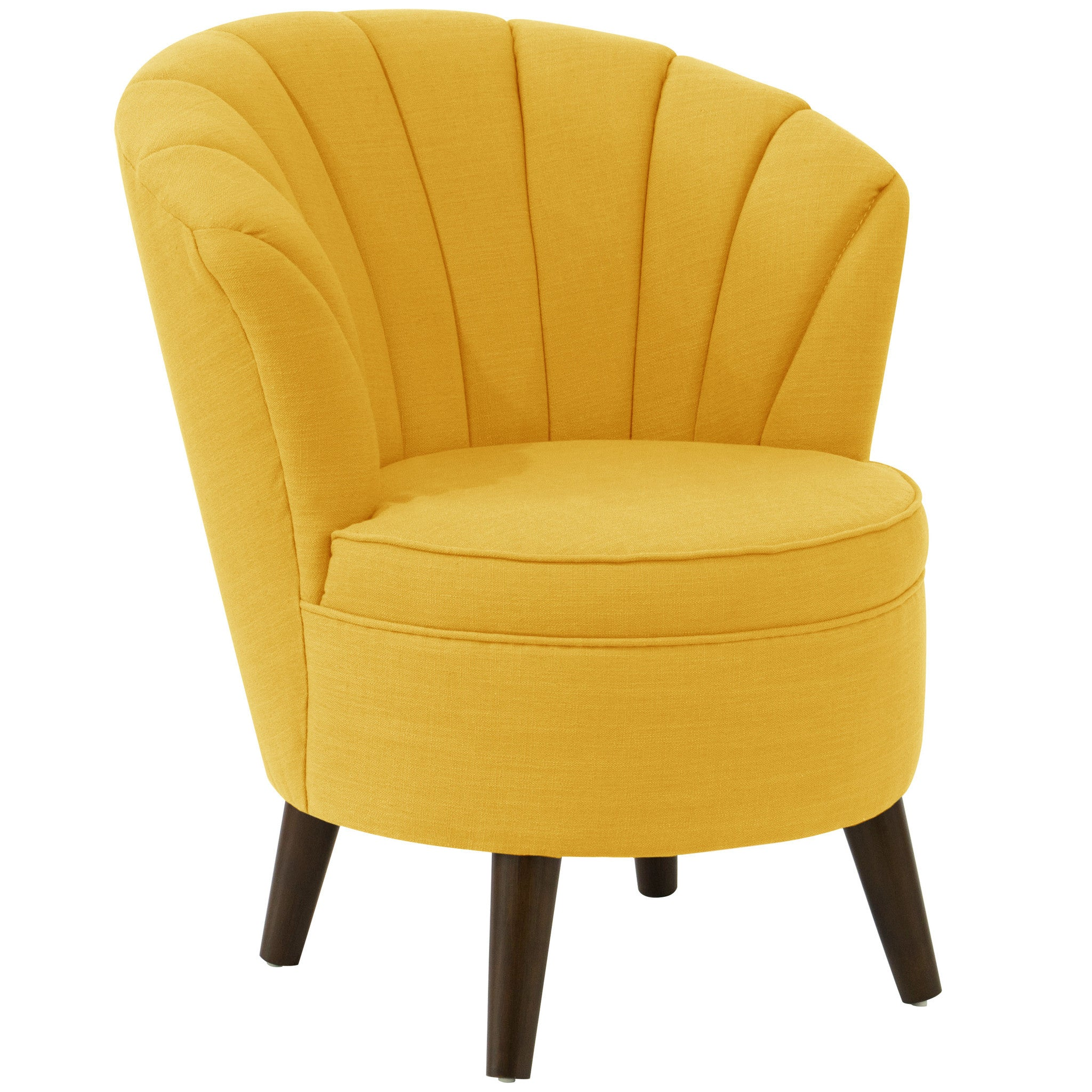 Angelo:HOME Channel Seam Barrel Chair In Linen French Yellow   Angelo:HOME