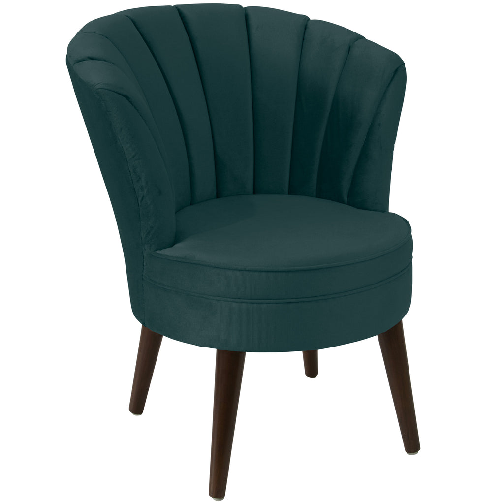 angelo:HOME Channel Seam Barrel Chair in Mystere Peacock Velvet