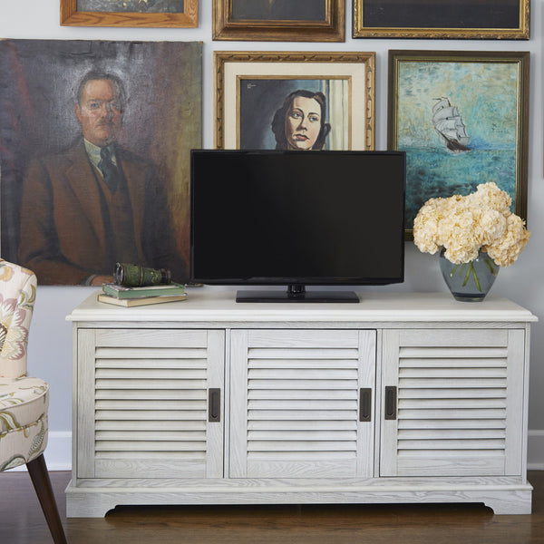 "angelo:HOME 60"" Louvered Door TV Console in White Wash - angelo:HOME"