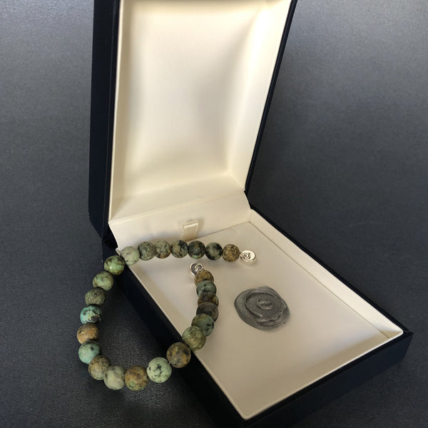 e.baran Sterling Silver Spiritual Beads Bracelet - African Turquoise (matte) - angelo:HOME