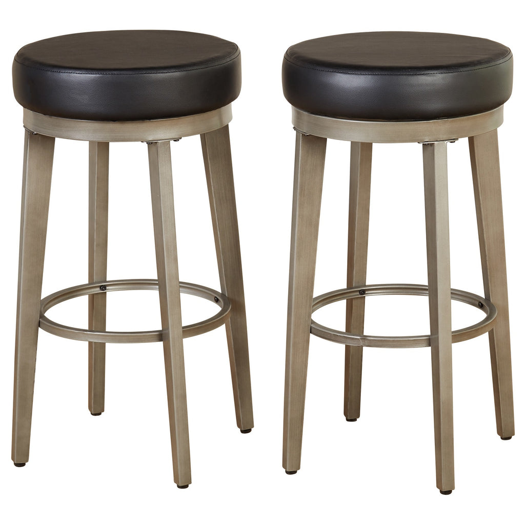 angelo:HOME Swivel Stools - Linden Leather set of 2 (black) - angelo:HOME