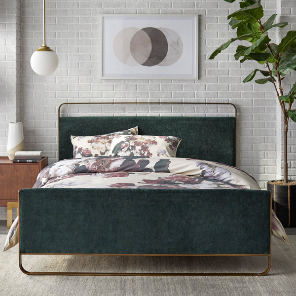 angelo:HOME Upholstered Queen Bed Frame - Doreen - Green