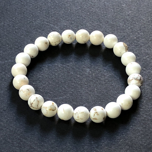 e.baran Spiritual Beads Stretch Bracelet - White Howlite - angelo:HOME