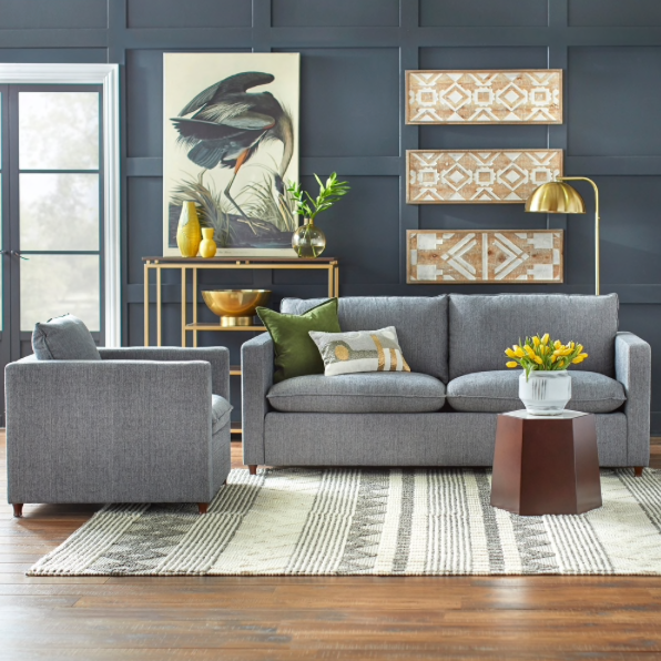 angelo:HOME Ricki Sofa and Chair Set in Grey