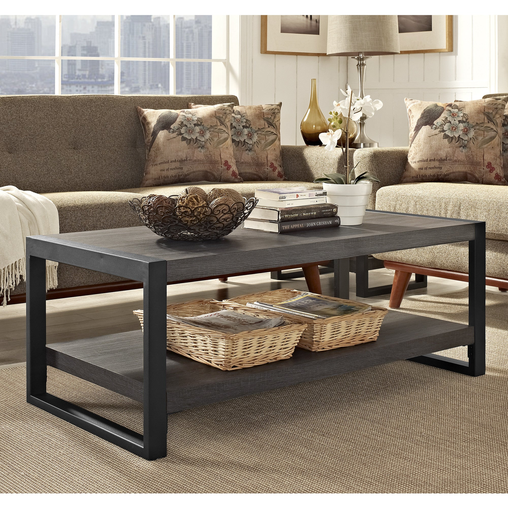 """angelo HOME City Grove 48"""" Coffee Table in Charcoal"""