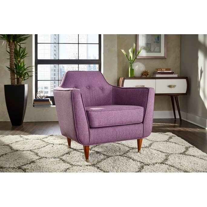 angelo:HOME Mid-Century Accent Chair in Plum
