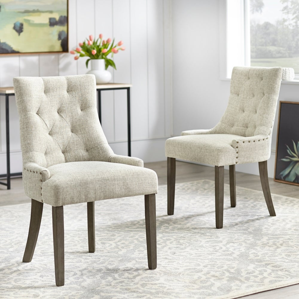 angelo:HOME Dining Chairs - Ariana Upholstered Parsons set of 2 or 4 (light grey)
