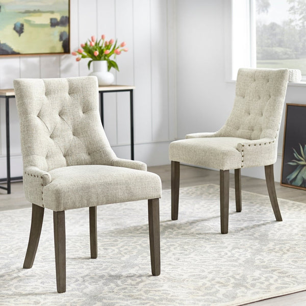 angelo:HOME Dining Chairs - Ariana Upholstered Parsons set of 2 or 4 (light grey) - angelo:HOME