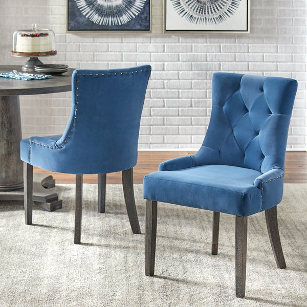 angelo:HOME Dining Chairs - Ariana Upholstered Parsons set of 2 or 4 (blue) - angelo:HOME