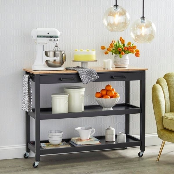 angelo:HOME Kitchen Island/Cart - Arlington (black) - angelo:HOME