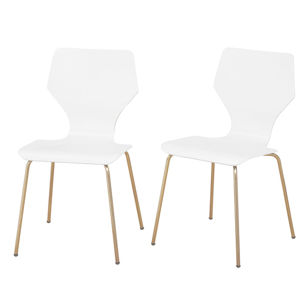 angelo:HOME Dining Chairs - Enna Bentwood/Metal set of 2 (white) - angelo:HOME