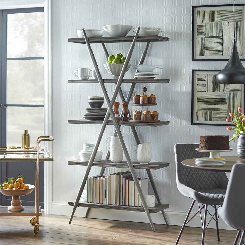 angelo:HOME Bookcase - Falcon 5-Tier Shelf - Grey/Weathered