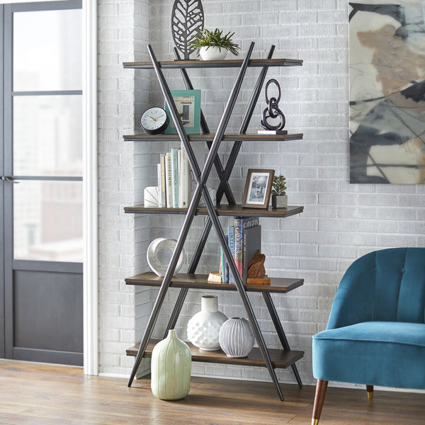 angelo:HOME Bookcase - Falcon 5-Tier Shelf - Black/Driftwood - angelo:HOME