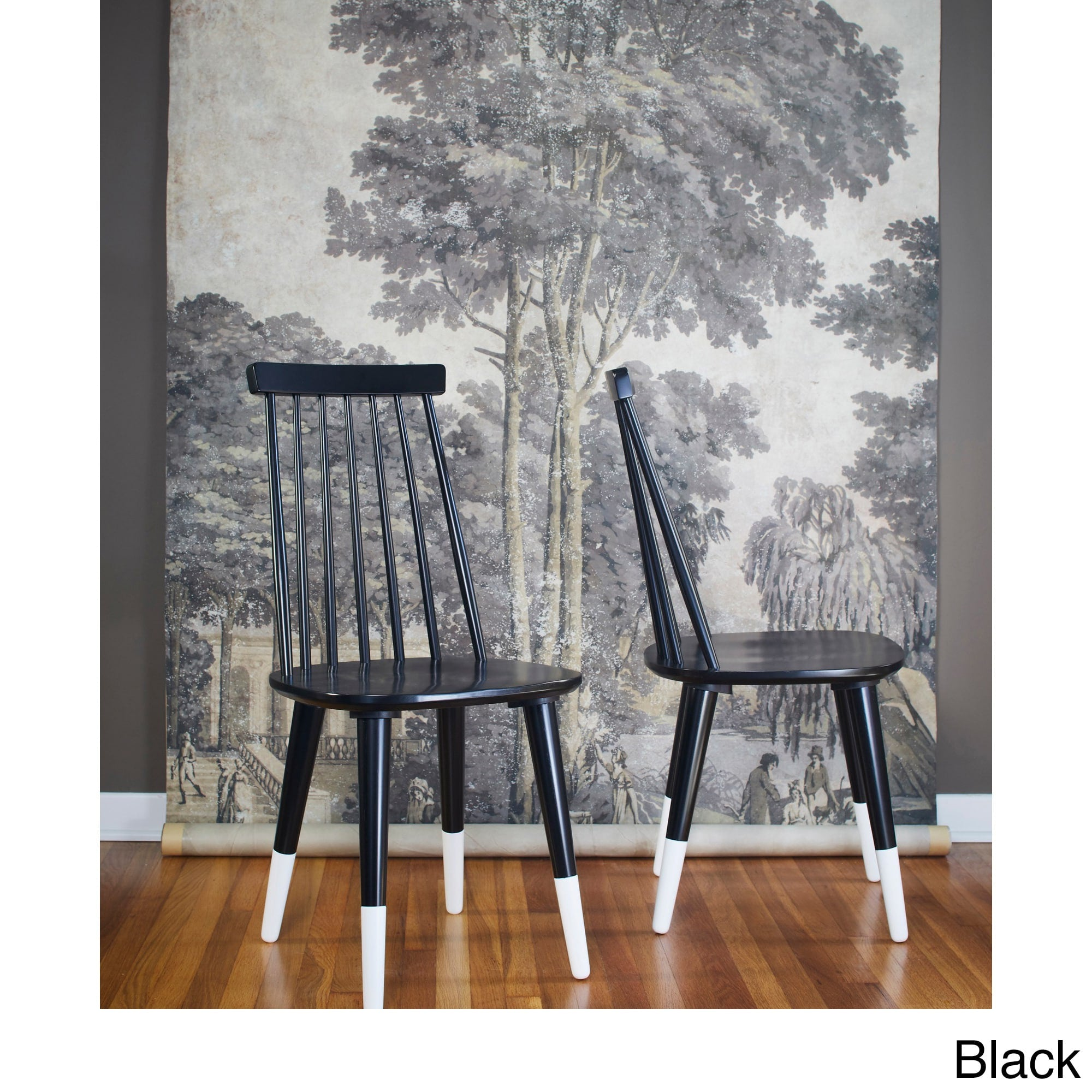 Angelo:HOME Wood Dining Chairs In Black (set Of 2)   Angelo: ...