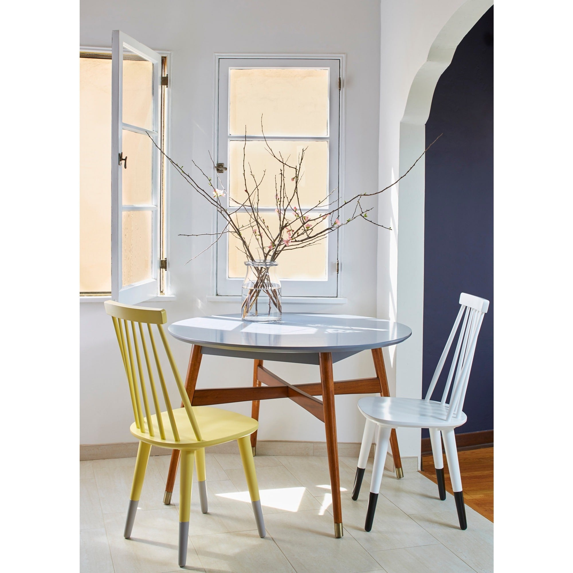 AngeloHOME Wood Dining Chairs In Yellow Set Of 2