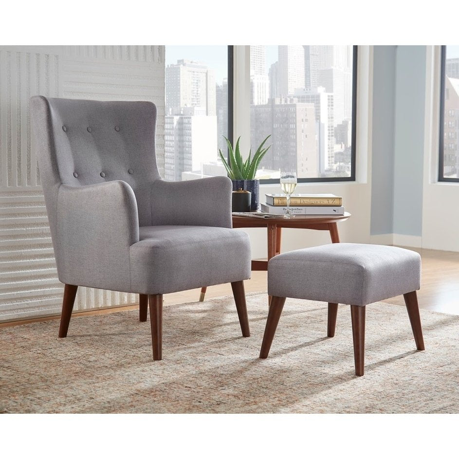 angelo:HOME Arm Chair & Ottoman Set - Jane in Grey
