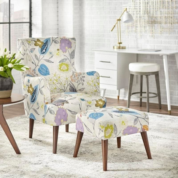 angelo:HOME Arm Chair & Ottoman Set - Jane (floral)