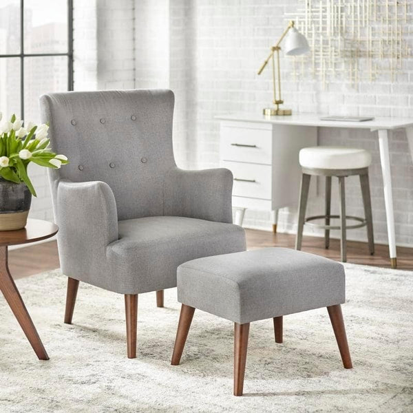 angelo:HOME Arm Chair & Ottoman Set - Jane (grey) - angelo:HOME