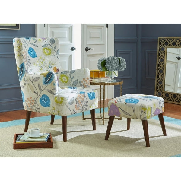angelo:HOME Arm Chair & Ottoman Set - Jane in Floral