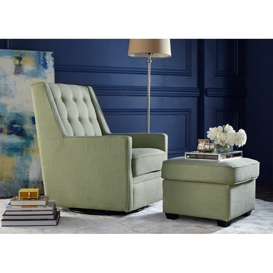 angelo:HOME Rocking/Swivel Chair and Ottoman Set - Lillian in Green