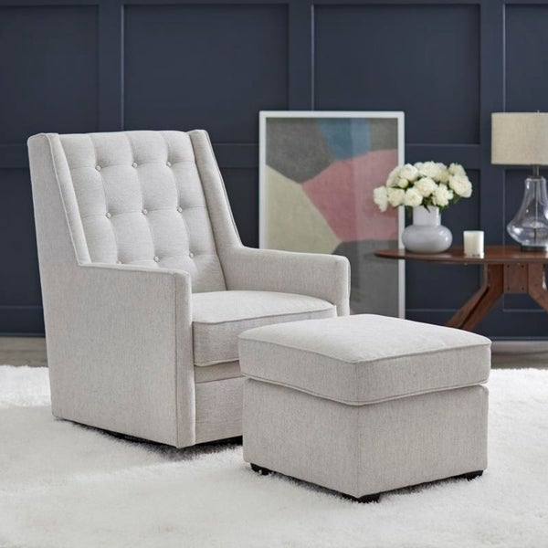 angelo:HOME Rocking/Swivel Chair and Ottoman Set - Lillian in Cream - angelo:HOME