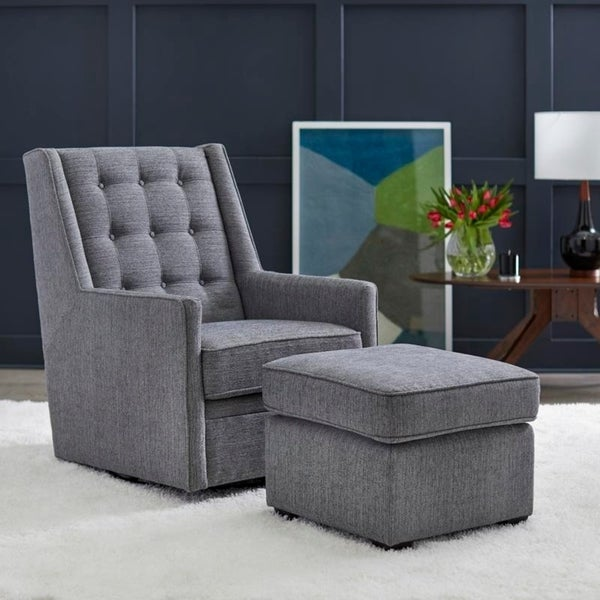 angelo:HOME Rocking/Swivel Chair and Ottoman Set - Lillian in Grey - angelo:HOME