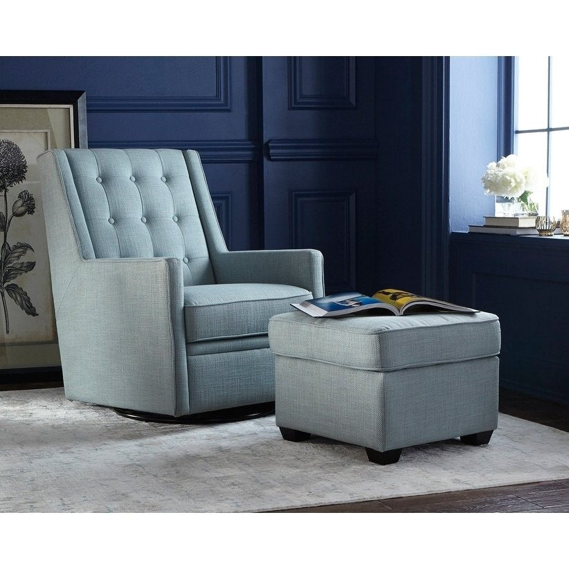 Superb Angelo Home Rocking Swivel Chair And Ottoman Set Lillian In Blue Unemploymentrelief Wooden Chair Designs For Living Room Unemploymentrelieforg