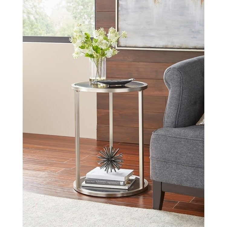 angelo:HOME End Table - Mae (black/brushed nickel) - angelo:HOME