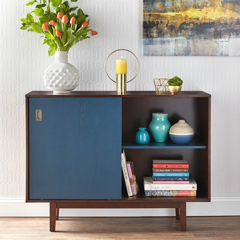 angelo:HOME TV Console/Buffet Cabinet - Menlo (blue/walnut)