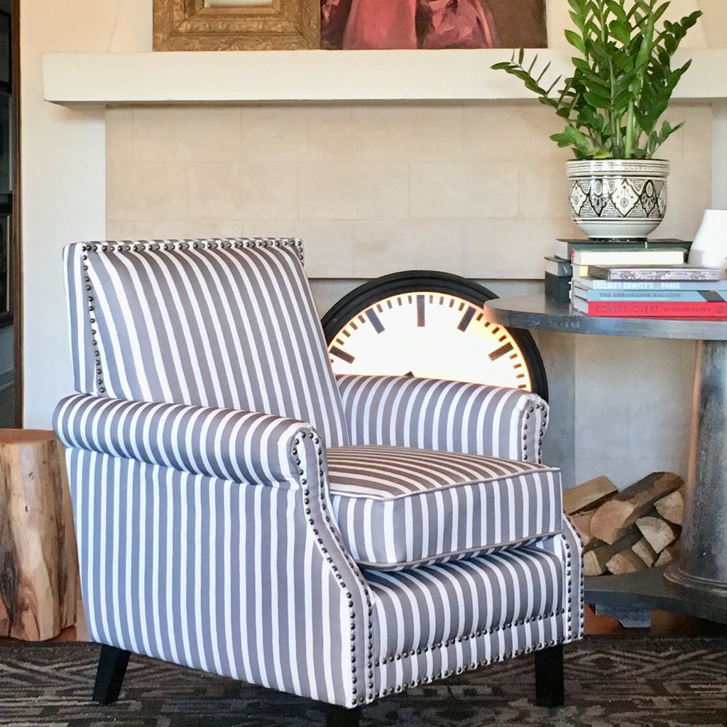 angelo:HOME Arm Chair - Petrie (grey and white striped)